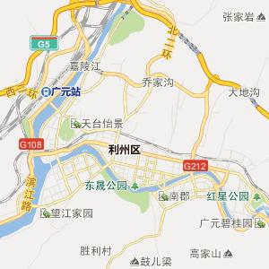 四川省广元市行政地图