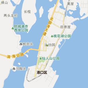 防城港港口行政地图_港口在线行政图图片
