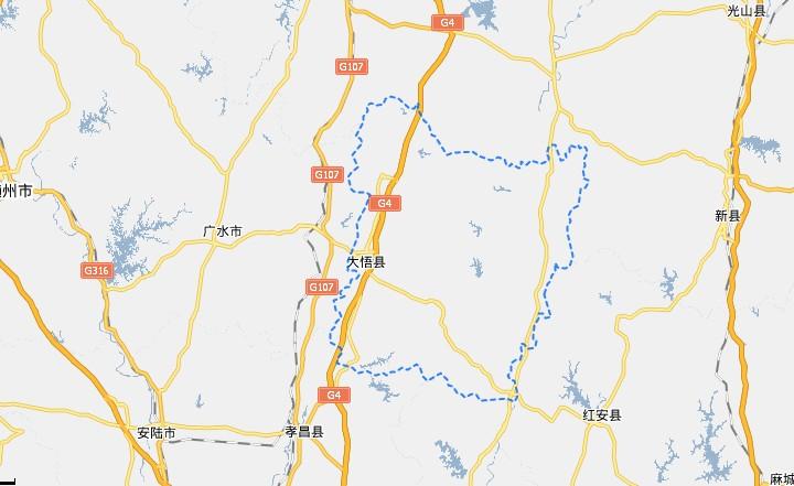 孝感市大悟县地图