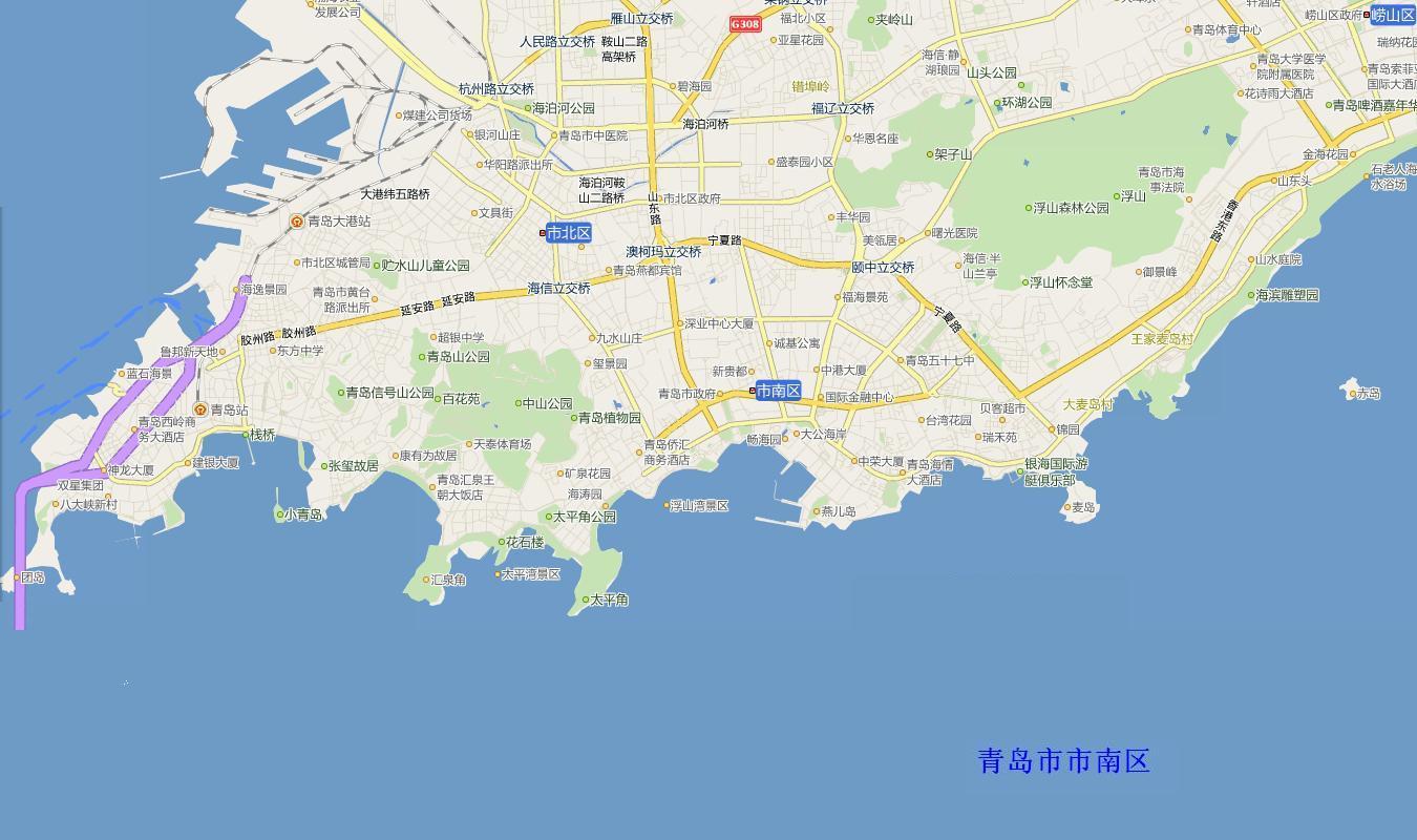 青岛市南区电子地图,青岛市南区行政地图全图,高清版大图