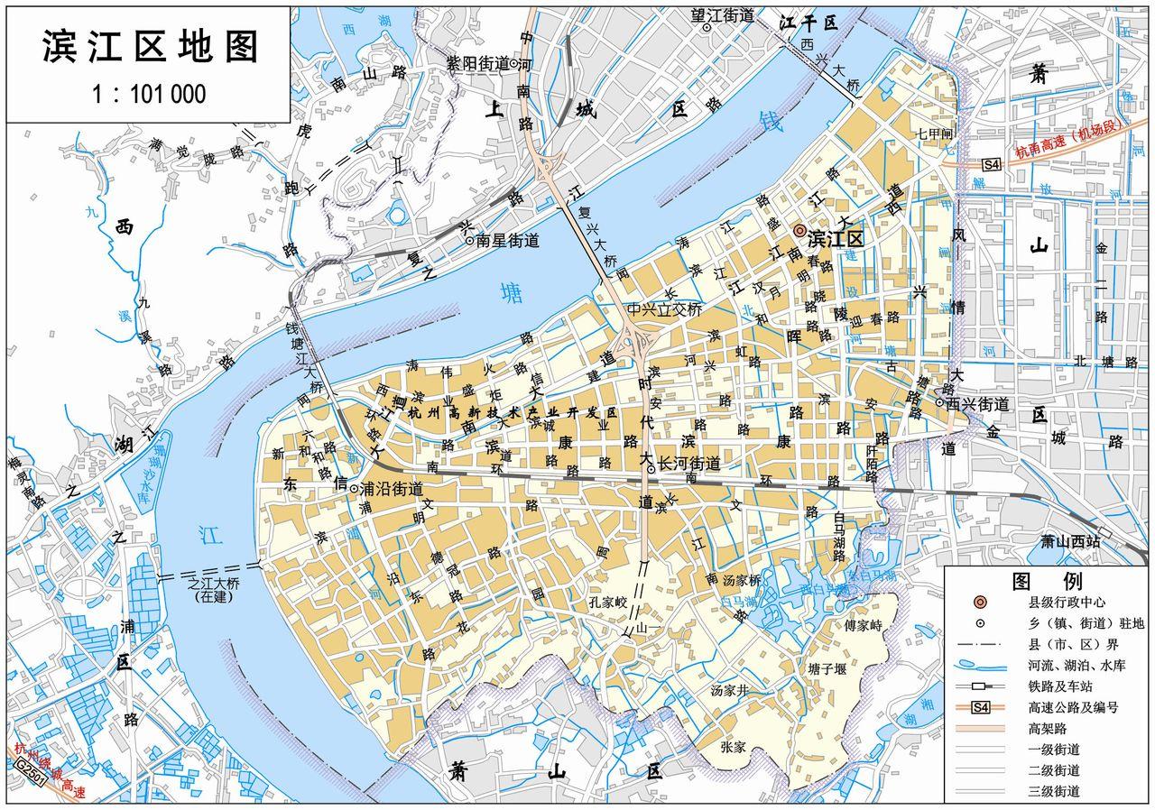 杭州滨江区电子地图,杭州滨江区行政地图全图,高清版大图
