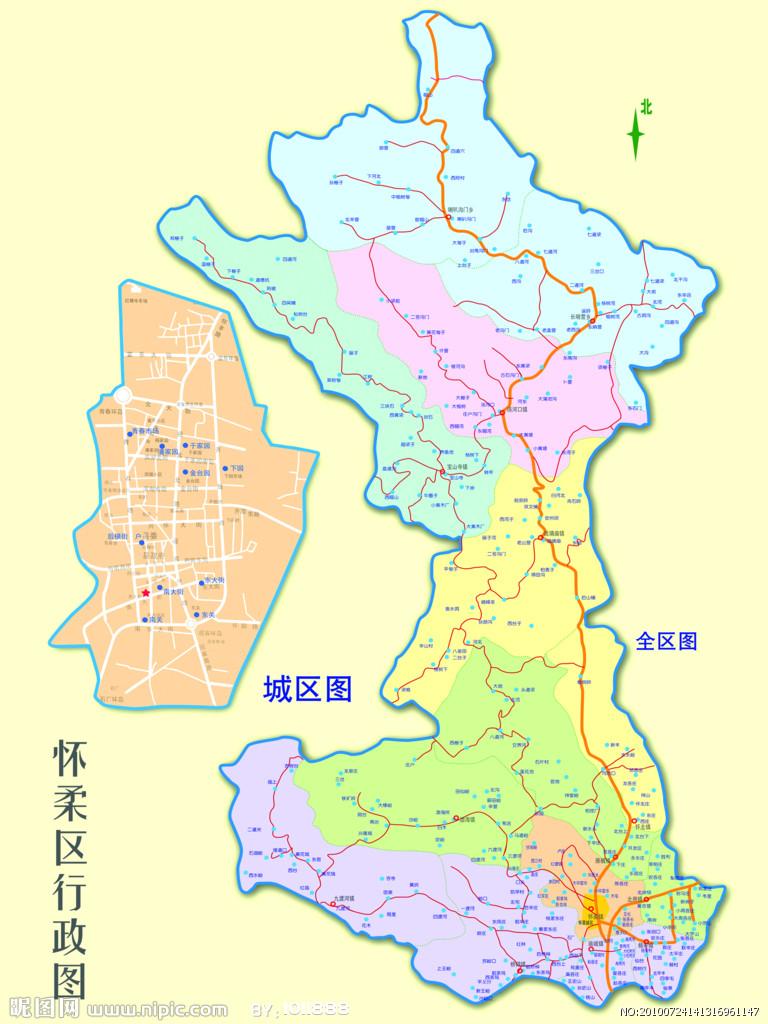 北京市怀柔区地图